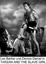 Lex Barker und Denice Darcel in TARZAN AND THE SLAVE GIRL
