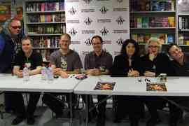Forbidden Planet signing - (Left to Right)  Dean M Drinkel, GR Yeates, Jonathan Green, Wayne Goodchild, SL Schmitz, Barbie Wilde, Adrian Chamberlin
